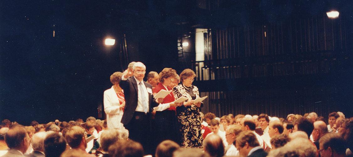 1990, Gathering in Birmingham, Alabama singing the Proposed revisions, Image